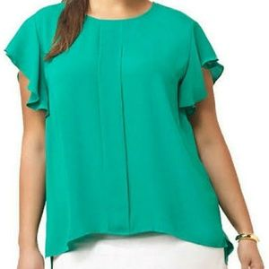 Adrianna Papell Flutter Sleeve Blouse In Green
